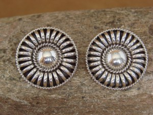 Native American Indian Jewelry Sterling Silver Ribbed Earrings Thomas Charley