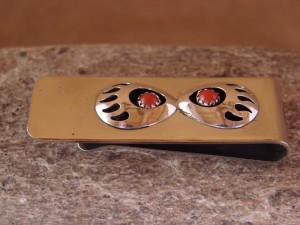 Navajo Indian Jewelry Coral Bear Paw Money Clip! Sterling Silver Mens