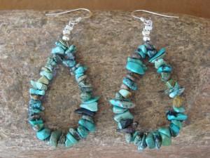 Native American Indian Jewelry Hand Strung Turquoise Stone Earrings!