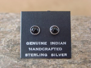 Native American Sterling Silver Onyx Dot Post Baby Earrings! Navajo Indian
