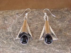 Native American Sterling Silver Onyx Squash Blossom Earrings!