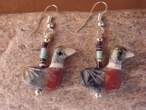 Hand Carved Marble Wood Duck Fetish Earrings by Matt Mitchell!