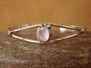 Small Navajo Indian Jewelry Sterling Silver Pink Shell Bracelet by J. Mariano