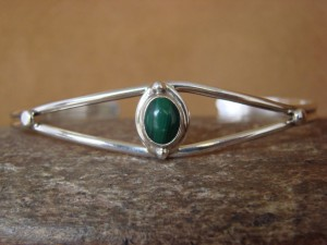 Small Navajo Indian Jewelry Sterling Silver Malachite Bracelet by J. Mariano