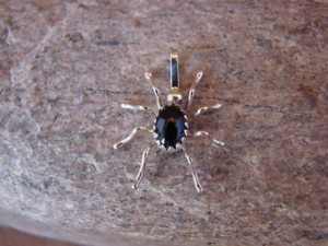 Small Navajo Indian Sterling Silver Onyx Spider Pendant by Spencer! Jewelry