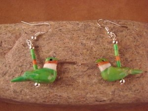 Hand Carved Gaspeite Hummingbird Fetish Earrings by Matt Mitchell!