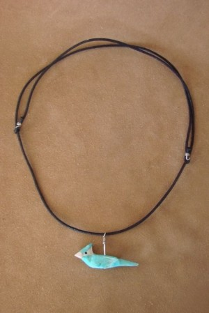 Hand Carved Turquoise Blue Bird Hand Carved Fetish Necklace by Matt Mitchell!