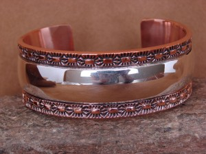 Native American Jewelry Sterling Silver Copper Stamped Bracelet by Marc Antia