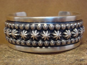 Navajo Indian Jewelry Hand Stamped Sterling Silver Bracelet Marc Antia