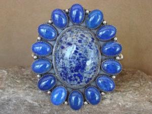 Large Navajo Indian Sterling Silver Blue Lapis Cluster Bracelet! Signed!