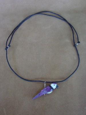 Hand Carved Dyed Mohave Turquoise Parrot Fetish Necklace by Matt Mitchell!