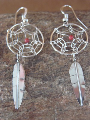 Navajo Indian Sterling Silver Coral Dreamcatcher Dangle Feather Earrings!