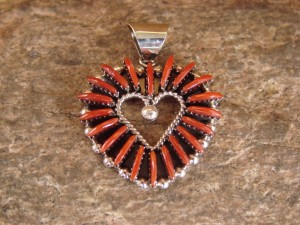 Zuni Indian Jewelry Sterling Silver Coral Heart Pendant by Edmund Cooeyate