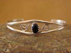 Navajo Indian Jewelry Handmade Sterling Silver Onyx Baby Bracelet!