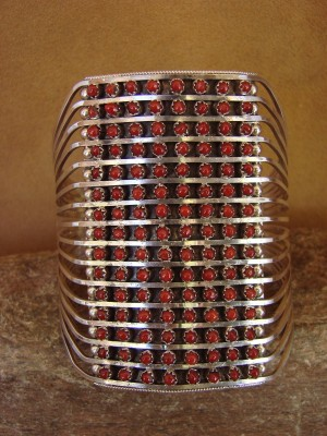 Zuni Indian Jewelry Sterling Silver Coral Cluster Bracelet by Susie Livingston