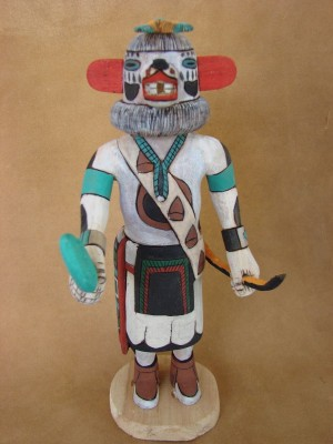 "Hopi Indian Hand Carved ""White Bear"" Kachina by Elmer Adams! Native American"
