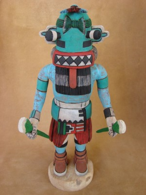 Hopi Indian Hand Carved Blue Whipper Kachina by Elmer Adams! Native American