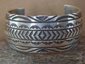 Navajo Indian Jewelry Hand Stamped Sterling Silver Bracelet by Ricardo Enriquez! KK0131