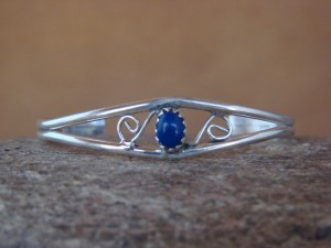 Navajo Indian Sterling Silver Purple Lapis Baby Bracelet by Cadman!