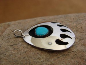 Native American Indian Jewelry Sterling Silver Turquoise Bear Paw Pendant!