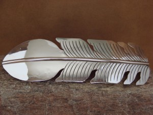 Large Navajo Indian Jewelry Sterling Silver Feather Hair Barrette Douglas Etsitty!
