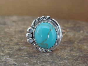 Navajo Indian Jewelry Sterling Silver Turquoise Ring Size 5.5 by Cadman