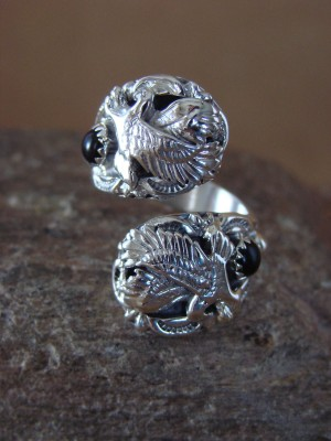 Navajo Indian Jewelry Sterling Silver Eagle & Onyx Adjustable Ring!