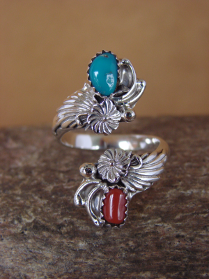 Navajo Indian Jewelry Sterling Silver Turquoise Coral Adjustable Ring!