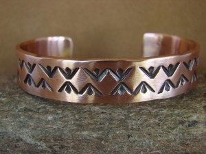 Navajo Indian Jewelry Handmade Stamped Copper Bracelet by Nora Bill