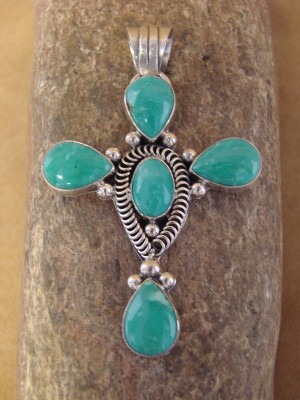Navajo Indian Jewelry Large Sterling Silver Turquoise Cross Pendant!