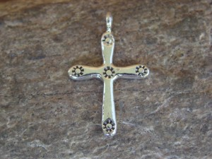 Small Native American Sterling Silver Handmade Cross Pendant
