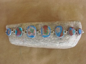Native American Jewelry Navajo Sterling Silver Calsilica Link Bracelet