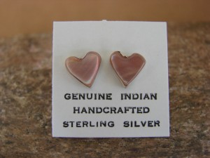 Zuni Indian Jewelry Sterling Silver Shell Heart Post Earrings!