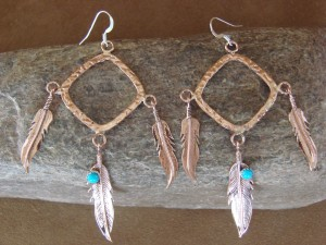 Native American Indian Jewelry Copper & Turquoise Feather Earrings!