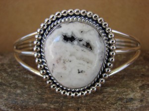 Native American Jewelry Sterling Silver White Buffalo Turquoise Bracelet!