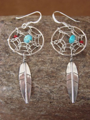 Navajo Indian Sterling Silver Turquoise Dreamcatcher Dangle Feather Earrings!