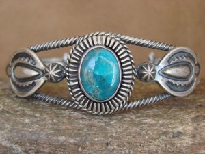 Native American Jewelry Sterling Silver Stamped Turquoise Bracelet Running Bear
