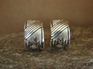 Native American Indian Jewelry Sterling Silver Hoop Earrings! By Tahe