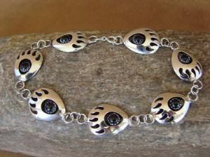 Native American Jewelry Onyx Bear Paw Link Bracelet! Sterling Silver!