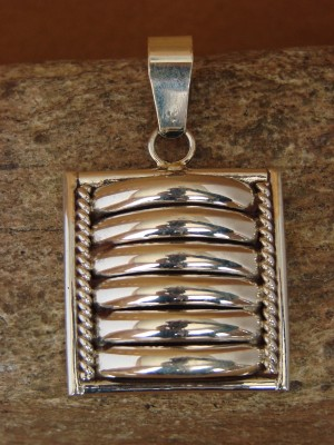 Navajo Indian Sterling Silver Ribbed Pendant by Thomas Charley!