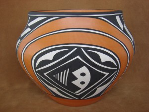 Native American Acoma Indian Pottery Hand Coiled Pot by Loretta Joe