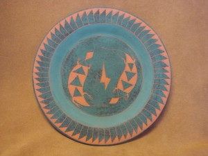 Native American Acoma Pottery Hand Painted Plate by JS Lewis