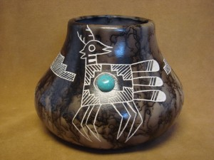 Native American Pottery Turquoise Horse Hair Pot by Gary Yellow Corn Louis! Acoma