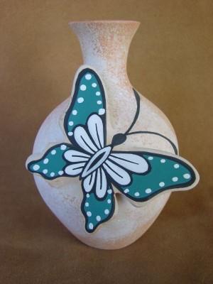 Native American Pottery Hand Painted Butterfly Vase/Pot by Tony Lorenzo Zuni