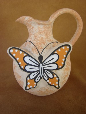 Native American Pottery Hand Painted Butterfly Vase by Tony Lorenzo! Zuni Indian
