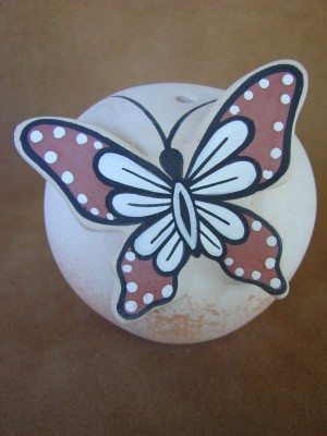 Native American Pottery Hand Painted Butterfly Seed Pot by Tony Lorenzo, Zuni Pueblo