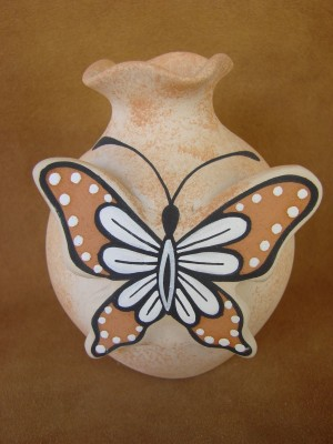 Native American Pottery Hand Painted Butterfly Pot by Tony Lorenzo, Zuni Pueblo