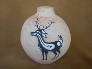 Native American Pottery Hand Painted Deer Pot by Tony Lorenzo, Zuni Pueblo