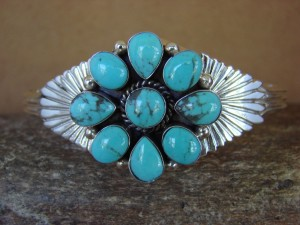 Navajo Indian Jewelry Sterling Silver Turquoise Bracelet by Mike Smith