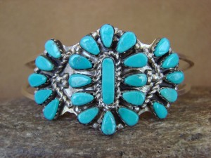 Small Native American Indian Jewelry Sterling Silver Turquoise Cluster Bracelet Zuni